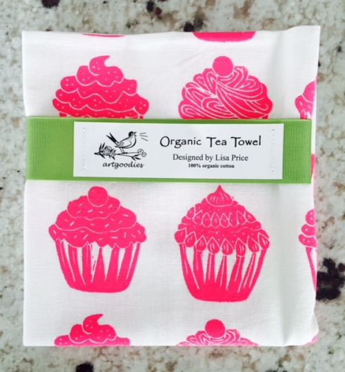 pink cupcakes organic tea towel