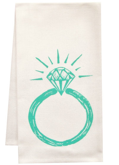 diamond ring engagement wedding towel gift