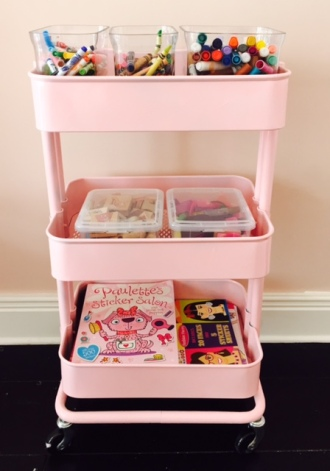 pink storage cart diy